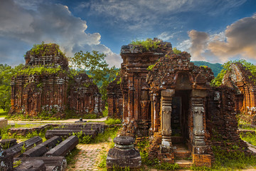 Remains of Hindu tower-temples at My Son Sanctuary, a UNESCO World Heritage site in Vietnam. Hue, Vietnam.