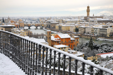 Ponte Vecchio or Old Bridge Florence Italy with snow panorama Tuscany, view from Piazzale Michelangelo. Firenze, Italia.