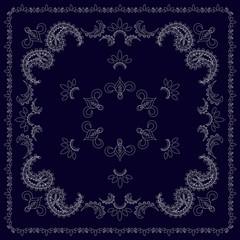 Dark blue and white bandana, hand drawn pattern, thin line, vector illustration