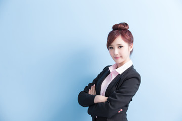 business woman smile to you