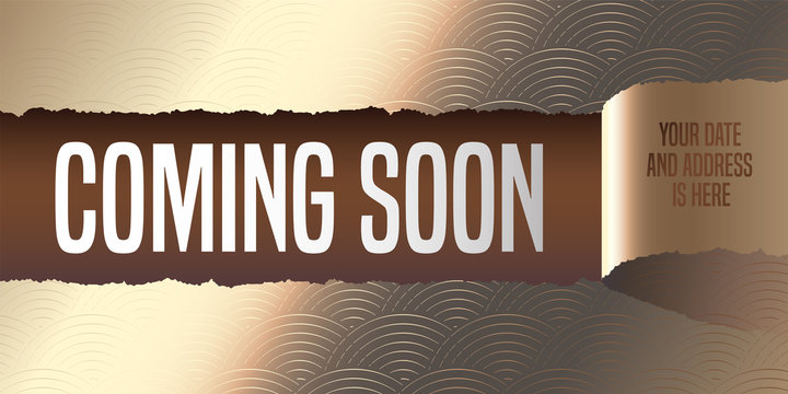 Grand opening, coming soon vector banner, illustration