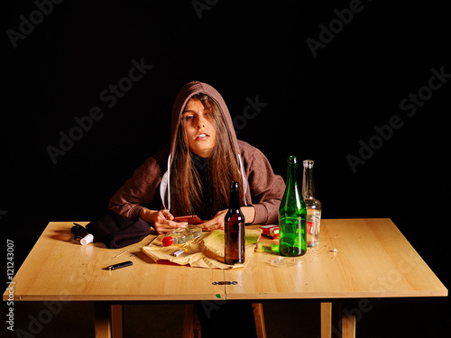 """""""Girl in depression drinking alcohol and smokes cigarettes ..."""