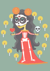 Colorful halloween girl in mexican day of death style. Vector cartoon of cute girl in sugar skull makeup.
