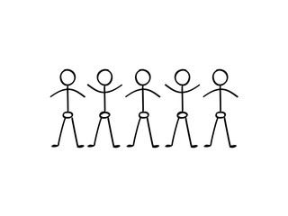 Vector stick figure people holding hands
