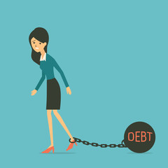 Woman with debt