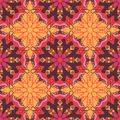 Garden Poster Moroccan Tiles Seamless pattern with mandalas in beautiful colors for your design. Vector background