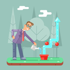 Successful Businessman Watering Growth Infographic Flat Design Vector illustration