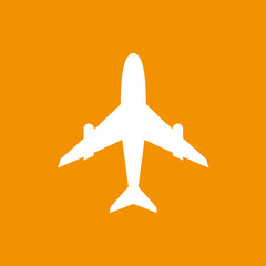 Icon of white airplane on orange background vector illustration.