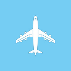 Icon of white airplane on blue background vector illustration.