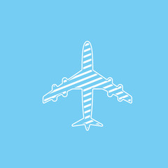 Icon of white lined airplane on blue background vector illustration.