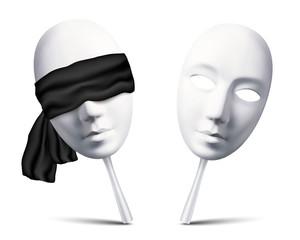 Couple of white vector blindfolded masks for mafia game