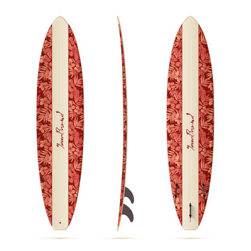 Vintage style vector realistic mini malibu surfing board isolated on white background