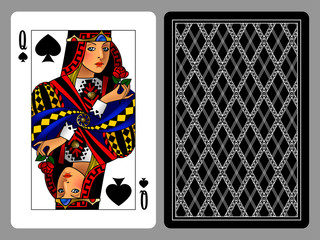 Queen of Spades playing card and the backside background