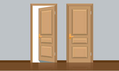 Realistic opened and closed classic wooden door. Flat color style