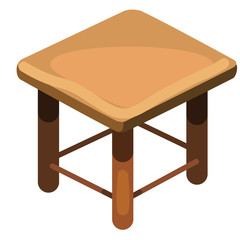 Simple wooden stool, top view