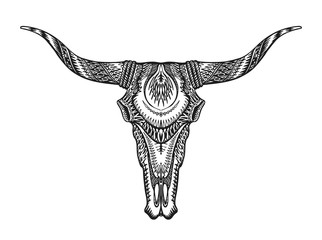 Decorative Indian bull skull. Hand drawn vector illustration