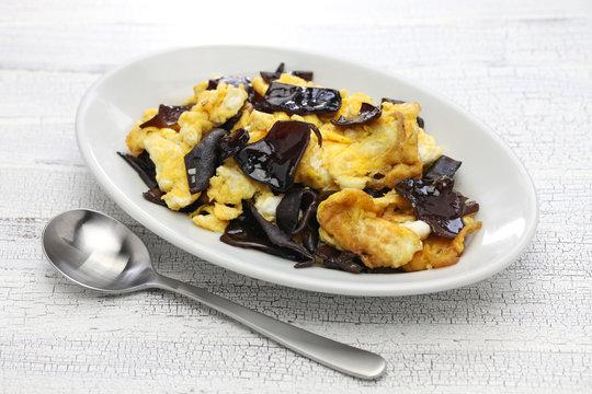 stir fried eggs with wood ear mushrooms, chinese cuisine