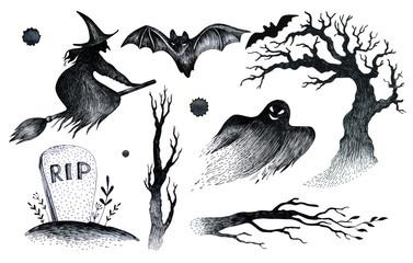 Halloween hand drawing black white graphic set icon, drawn Hallo