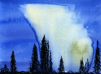 Hand drawn illustration of night view with northern lights