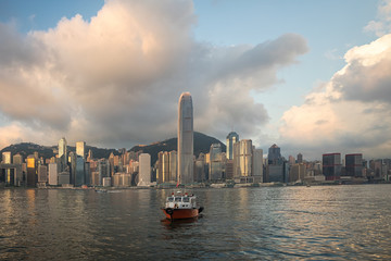 Hongkong is beside the river in the morning
