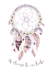Isolated Watercolor decoration bohemian dreamcatcher. Boho feath