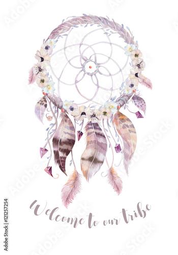 Isolated Watercolor Decoration Bohemian Dreamcatcher Boho Feath Magnificent Water Color Dream Catcher