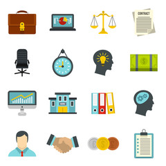 Banking icons set in flat style. Money, finance elements set collection vector illustration