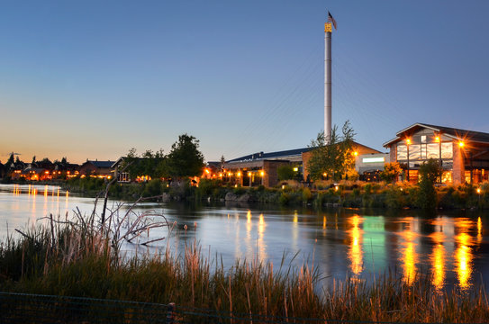 Renovated Old Industrial Buildings in Bend, Oregon, at Twilight
