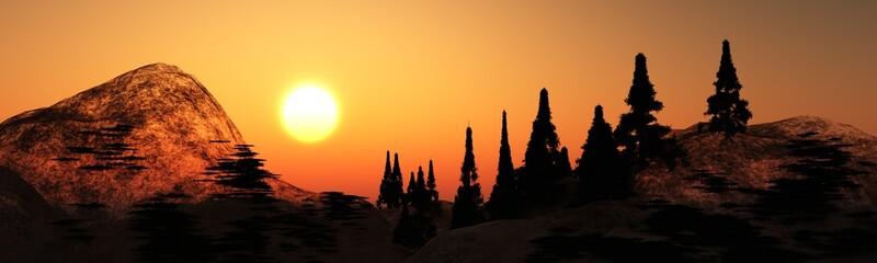 Panorama mountain sunset. Sun above pine trees