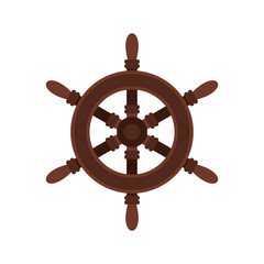 Wooden ship wheel icon in flat style on a white background vector illustration