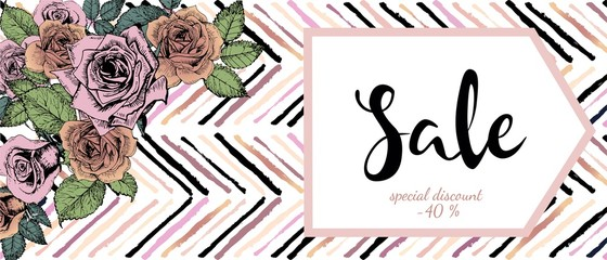 Vector flyer for great sale. Rose gold flowers and chevron modern brush spot in trendy pastel colors.