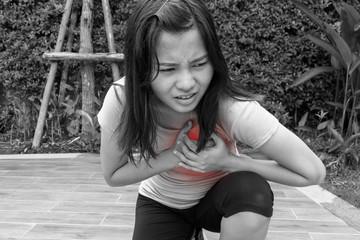 Sporty woman having heart attack,Angina Pectoris, Myocardial