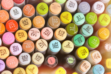 Photo of markers set. Tools for drawing, sketching, design