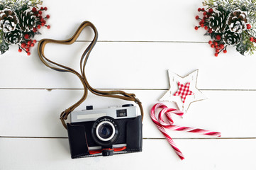 Old vintage camera and Christmas decor