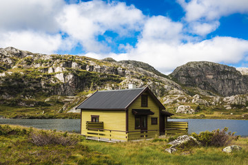 House of fisherman on the lake. Norway.