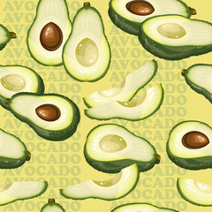 Seamless texture with avocado and slices on yellow background.