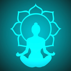 Vector Yogini Meditating in Peace and Lotus Flower Chakra Illustration