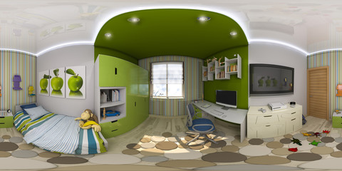 3d illustration spherical 360 degrees, seamless panorama of children's room interior design.