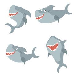 Set funny sharks