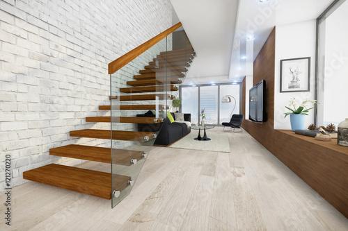 Modern eingerichtetes wohnzimmer in einem loft stockfotos und lizenzfreie bilder auf fotolia - Wohnzimmer bild modern ...