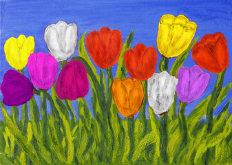 Different tulips, painting
