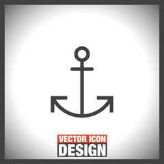 Anchor sign line vector icon. Security line icon. Travel symbol. Nautical drogue sign. Sea and sailing symbol.
