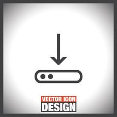 Download line vector icon. Down arrow sign. Internet download symbol.