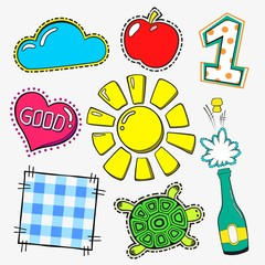 fasion patch set isolated on white background. Cartoon pin with sun, apple, one, turtle, heart, good.