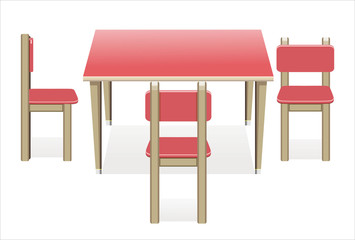Modern table with chairs on white background.