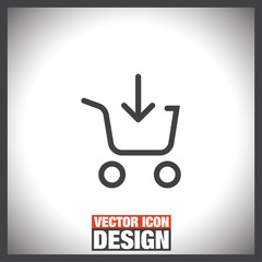 Add to shopping chart line vector icon. On line shop sign. Web store purchase symbol.