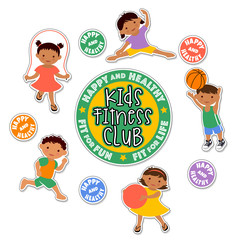 active children playing sports. latino fitness stickers.