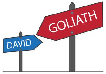 Zeichnung, Symbol David gegen Goliath