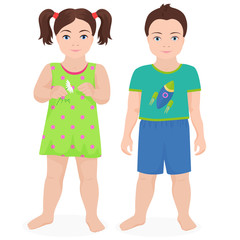 Happy little boy and girl kids together isolated. Vector illustration.