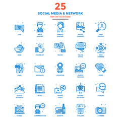 Modern Flat Line Color Icons- Social Media and Network